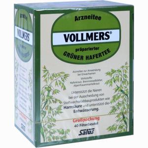 Abbildung von Vollmers Präparierter Grüner Hafertee Filterbeutel 40 Stück