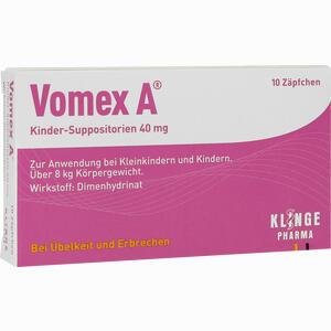 Abbildung von Vomex A Kinder Suppositorien 40 Mg Zäpfchen 10 Stück