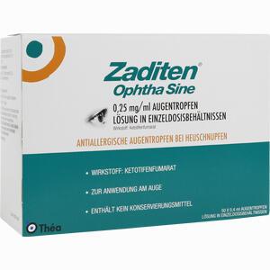 Abbildung von Zaditen Ophtha Sine Augentropfen Einzeldosispipetten  50 Stück