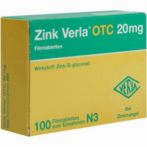Abbildung von Zink Verla Otc 20mg Filmtabletten 100 Stück